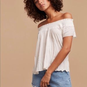 Talula | Dove Gray Flowy Off the Shoulder Top | M